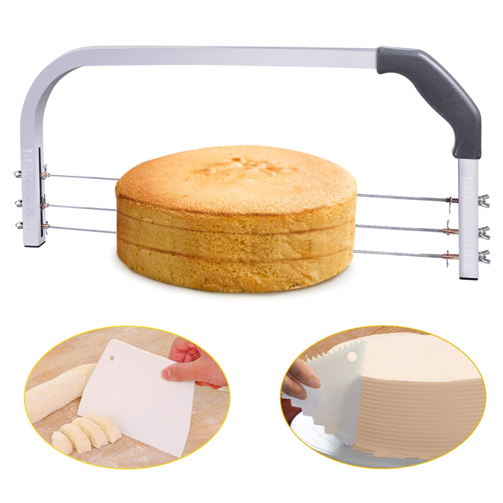 Bonviee Adjustable Cake Leveler Professional Layer Cake Slicer Cutter 3 Blades Stainless Steel Cut Saw 18'' Wide with 2pcs Plastic Scrapers for Baking Tools