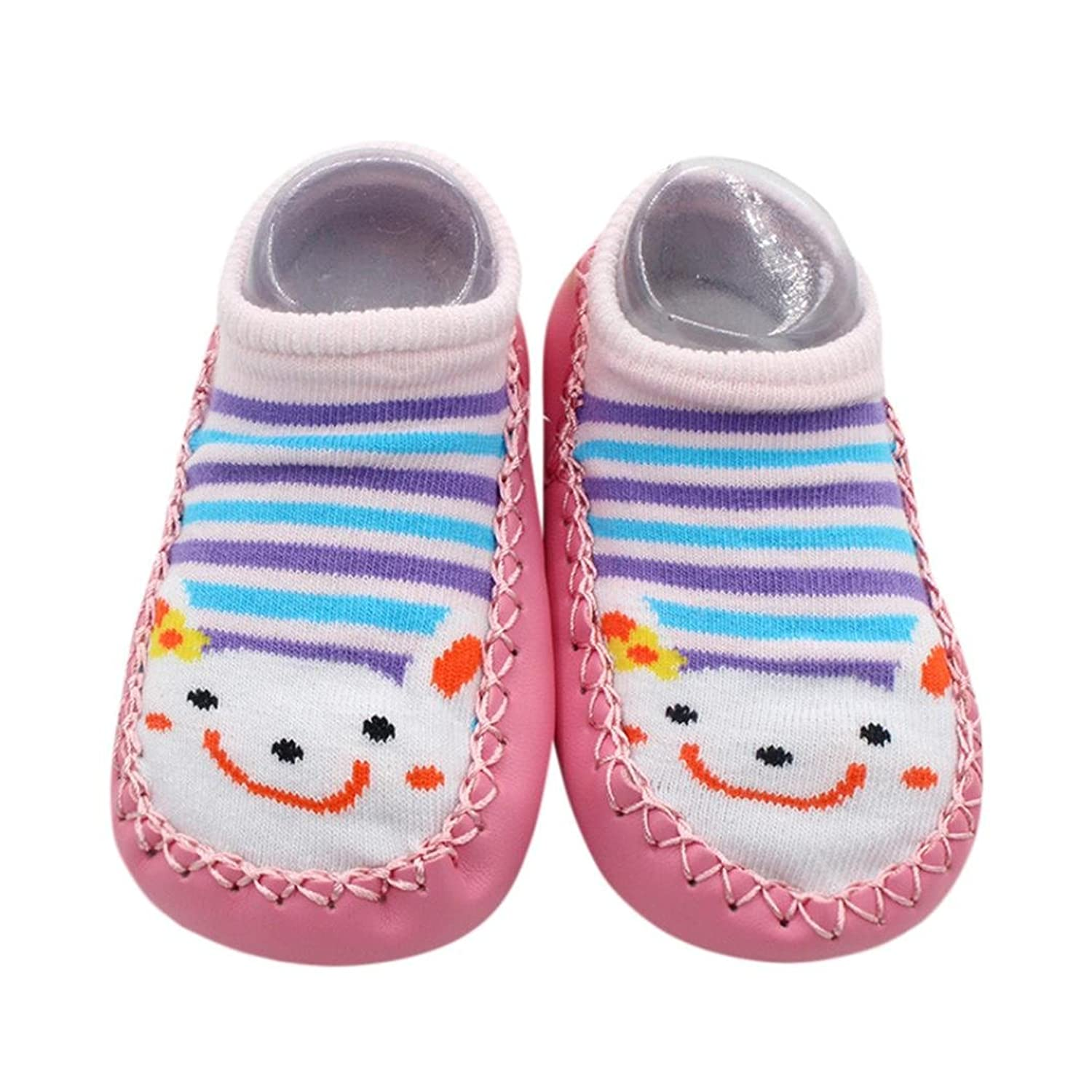 Dreamyth Cartoon Newborn Baby Girls Boys Anti Slip Socks Leather