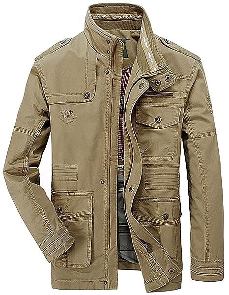 OLD-KING® Hombre Primavera Otoño Invierno Casual Botones Coat Algodón Bombardero Chaqueta Militar Alta Calidad al aire libre Tops chaqueta de moda ...