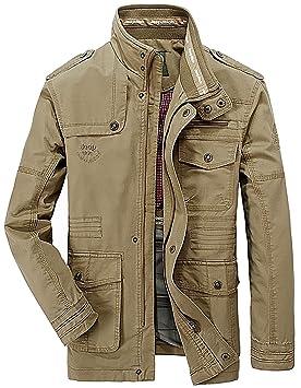 OLD-KING® Hombre Primavera Otoño Invierno Casual Botones Coat Algodón Bombardero Chaqueta Militar Alta Calidad al aire libre Tops chaqueta de moda para ...