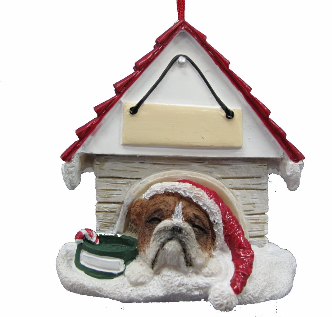 "Bulldog Ornament A Great Gift For Bulldog Owners Hand Painted and Easily Personalized ""Doghouse Ornament"" With Magnetic Back"