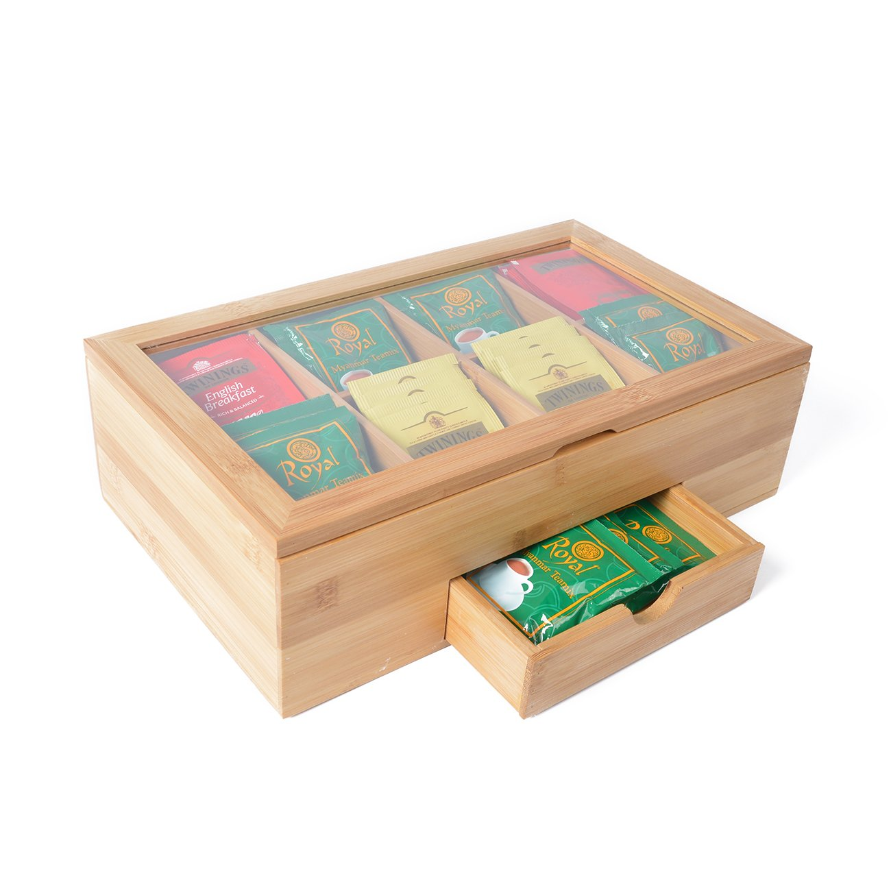 Kinwell Tea Box Storage Chests Natural Bamboo Tea Container 100+ Standing/Flat Tea Bag Oraganizer Holder 8 Compartments with Expandable tea Drawer Clear Lid Quick Access Visibility of Your Tea(Blank)
