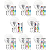 MELPO 3W Colored Light Bulbs, E26 Dimmable LED Color Changing Light Bulb with Remote Control, for Birthday Party / KTV Decoration / Household / Bar / Wedding (Pack of 8)