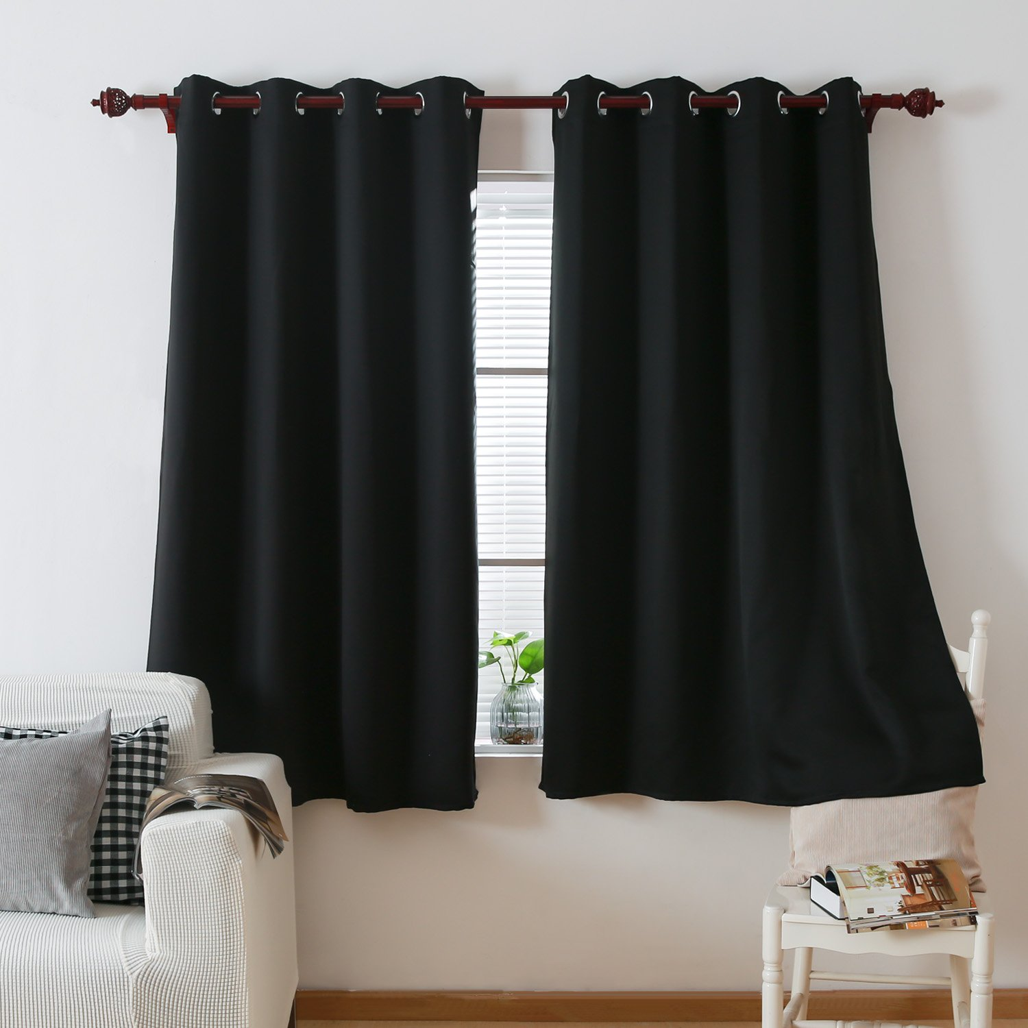 Deconovo Black Thermal Insulated Blackout Curtains 52 By 63 Inch,1 Panel