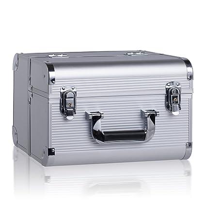 7e65d3f1a42 Rowling Maletín maquillaje profesional cofre organizador extraíble para  cosméticos portátil maleta cosmética color plateado AC01SILVER