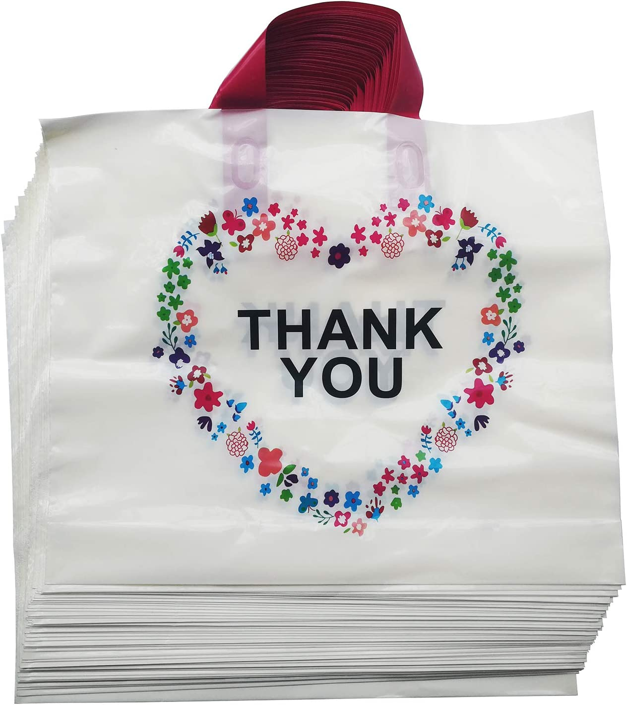 50Pcs Thank You Beige Merchandise Bags with Handles,Plastic Shopping Bags Boutique Gift Bags,14.6x12.6x3.1( 37x32x8cm)5.6Mil