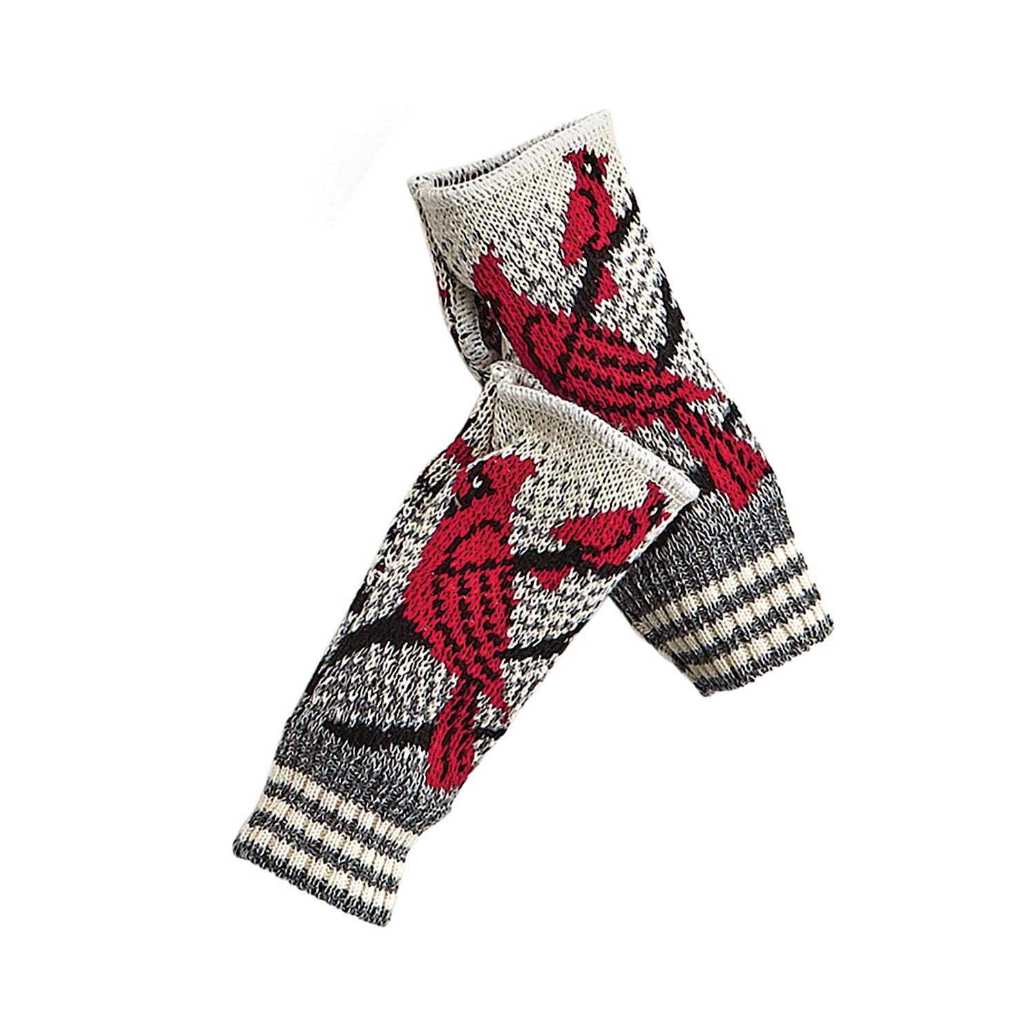 Green 3 Women's Cardinals Hand Warmers - Recycled Fingerless Gloves with Birds