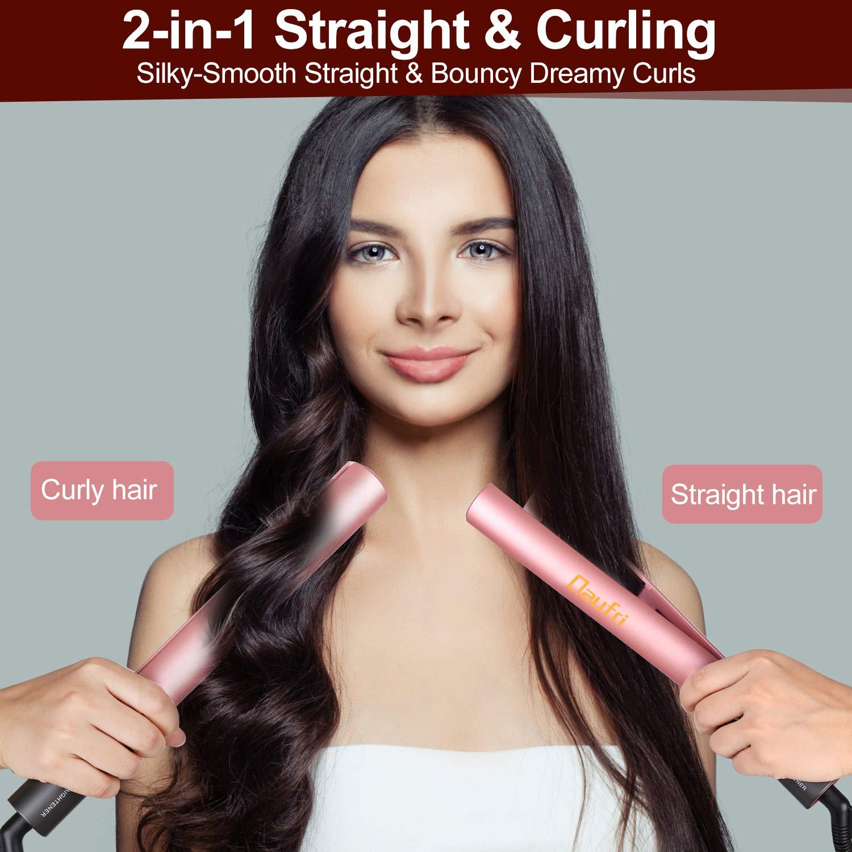 Hair Straightener, Daufri Professional Straightener Flat Iron 2 in 1 Tourmaline Ceramic Digital LCD 250 -450 Dual Voltage, 15s Instant Heat for All Hair Types