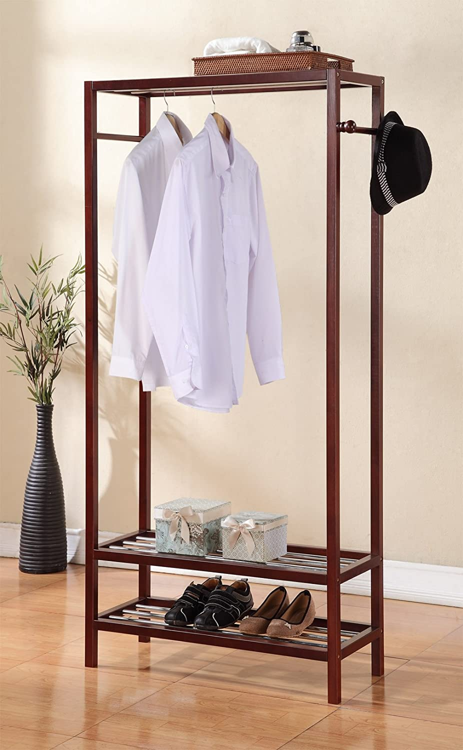 Legacy Decor 2 Tier Shelves Shoe Garment Coat Rack Hanger 65 h X 31.5 w Wooden Walnut Finish