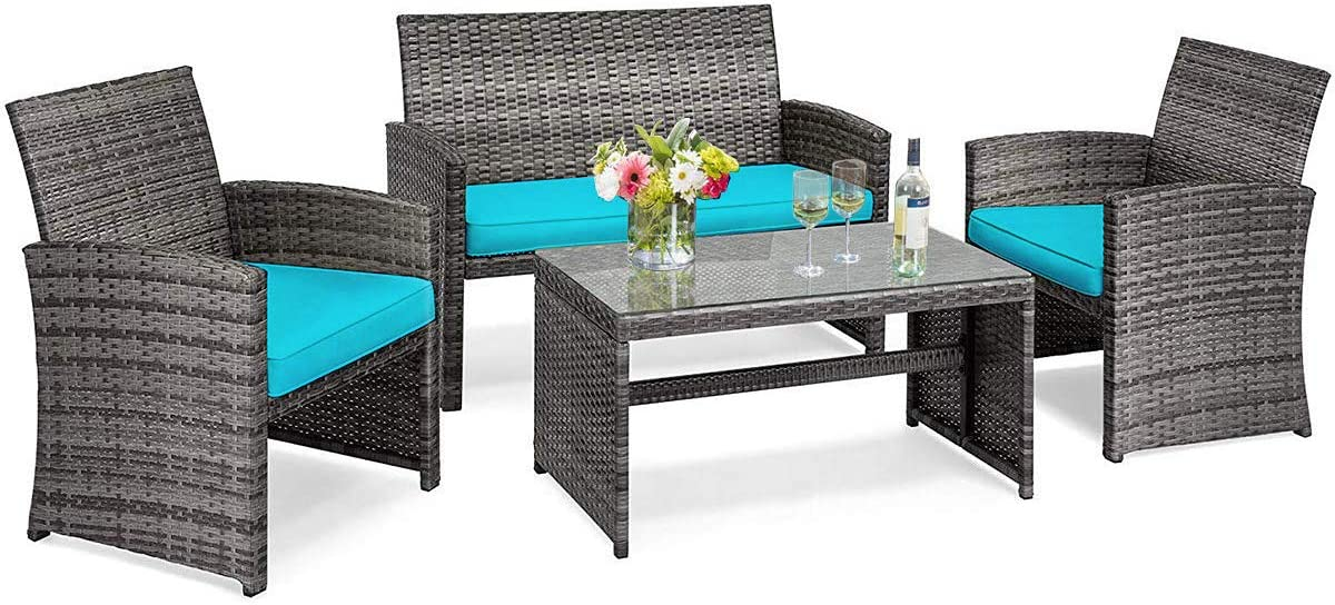 Tangkula 4 PCS Wicker Patio Conversation Set, Outdoor Rattan Sofas with Table Set, Patio Furniture Set with Soft Cushions & Tempered Glass Coffee Table for Poolside Courtyard Balcony (1, Turquoise)