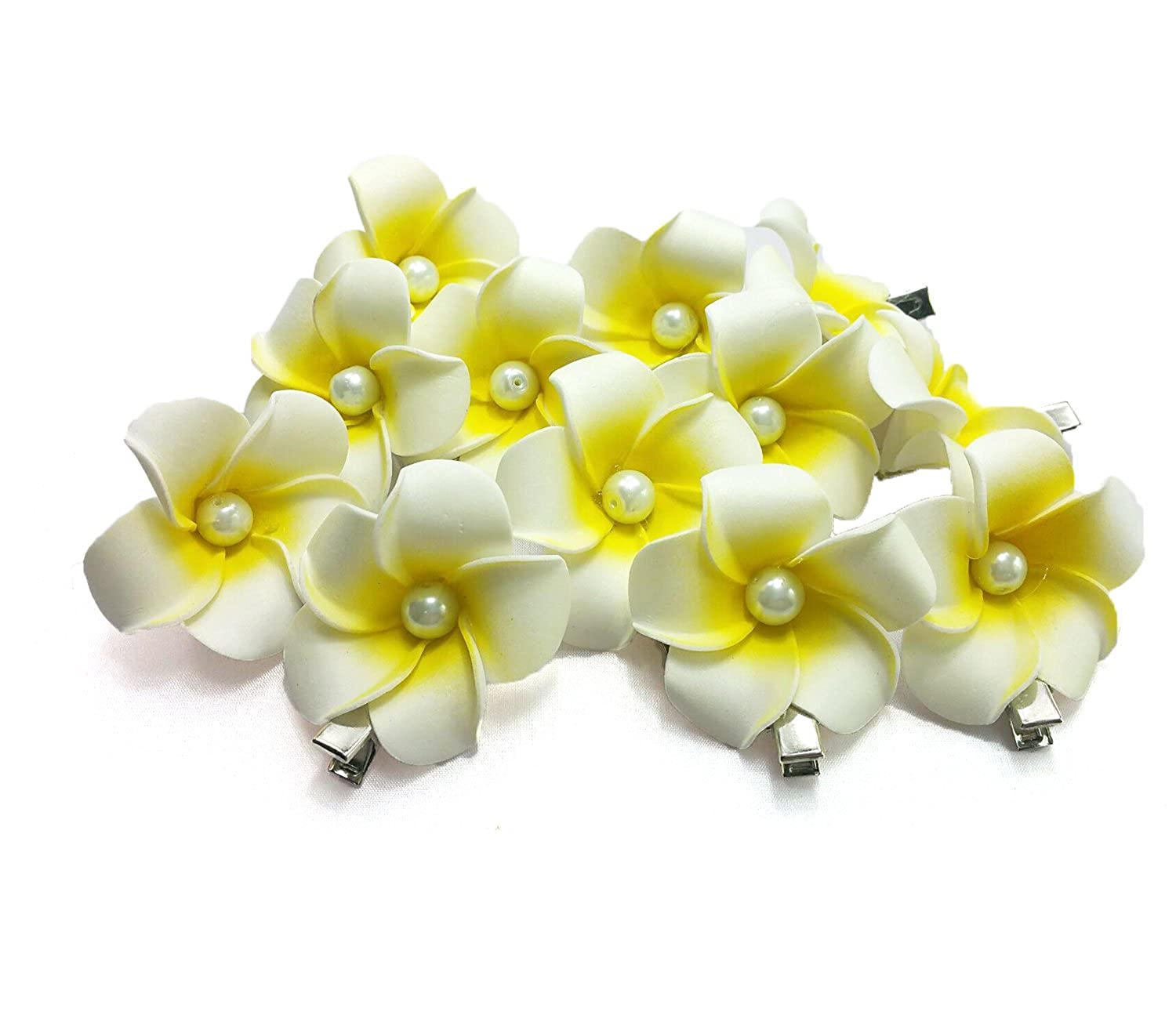DreamLily Womens Fashion 3 Pcs Hawaiian White Plumeria Flower