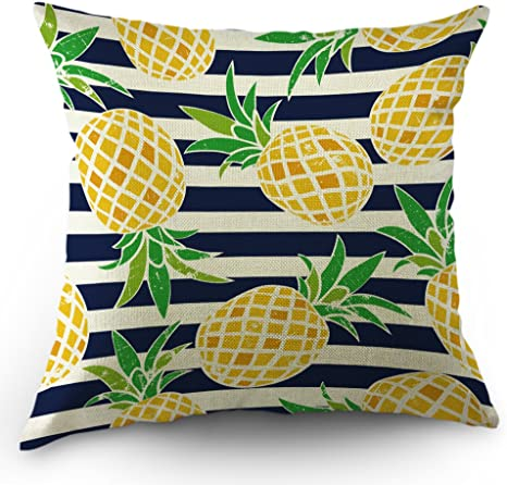 Amazon Com Moslion Pineapple Pillows Decorative Throw Pillow Cover Case Summer Beach Pineapple In Stripes Cotton Linen Pillow Case 18 X 18 Inch Square Cushion Cover For Sofa Bedroom Blue Yellow Green Home