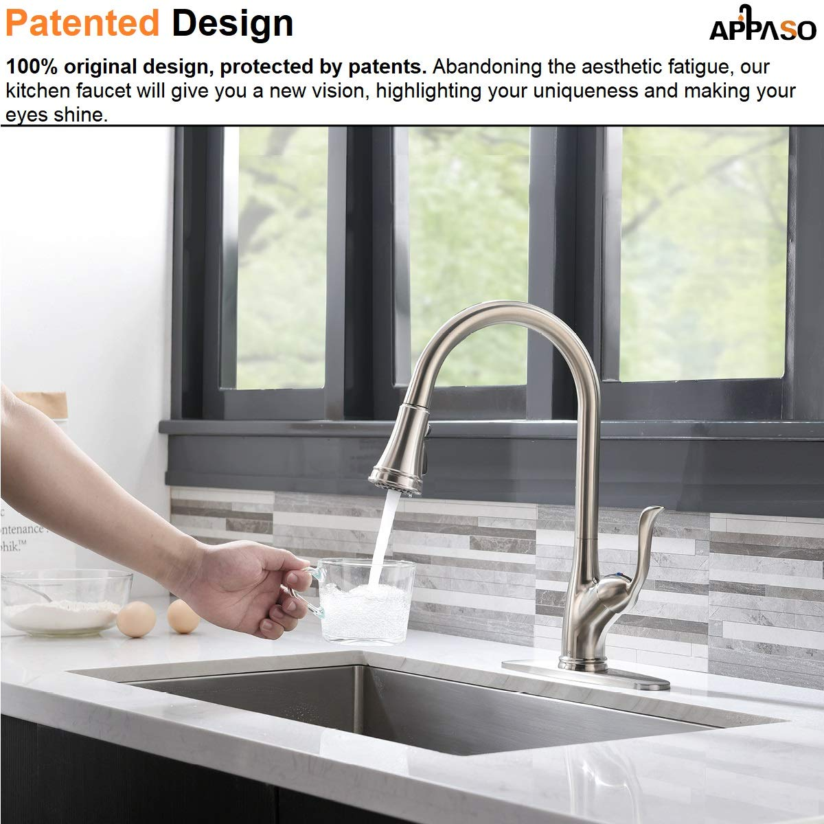 APPASO Single Handle Pull Down Kitchen Faucet with Sprayer, Stainless Steel Brushed Nickel High Arc Single Hole Pull Out Spray Head Kitchen Sink Faucet with Escutcheon by APPASO (Image #2)