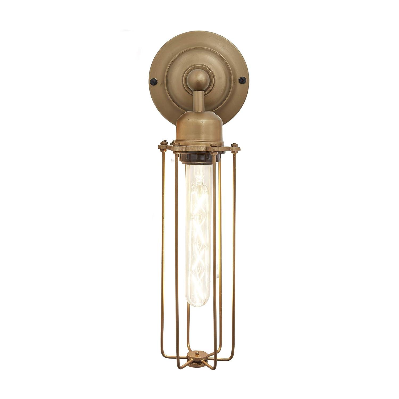 Orlando cylinder wire cage retro sconce wall light brass amazon co uk lighting