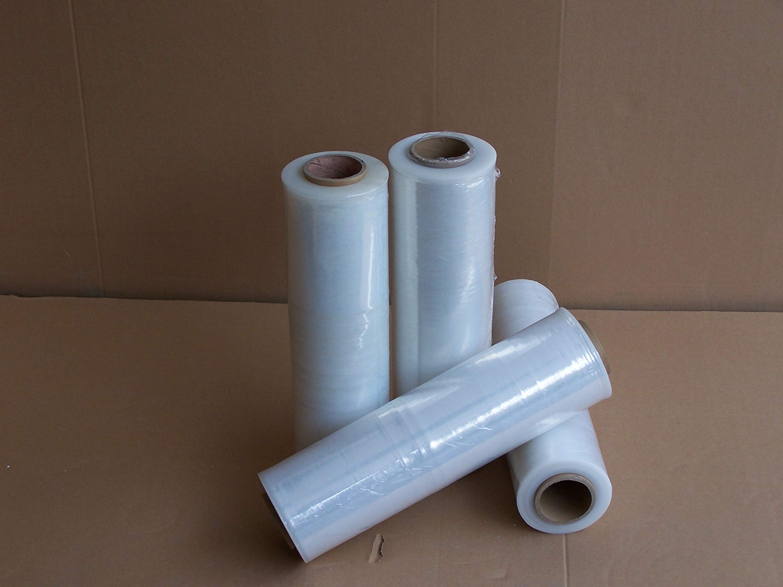 Everyday Essentials 4 Rolls 18'' Stretch Film/Wrap 1500ft 500% Stretch 60 Gauge Clear Cling Durable Adhering Packing Moving Packaging Heavy Duty Shrink Film, Clear