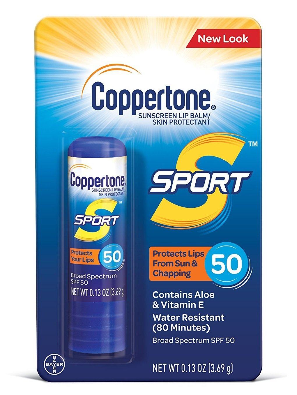 Coppertone Sport Sunscreen LipBalm, 0.13 oz, SPF 50 (Pack of 8)