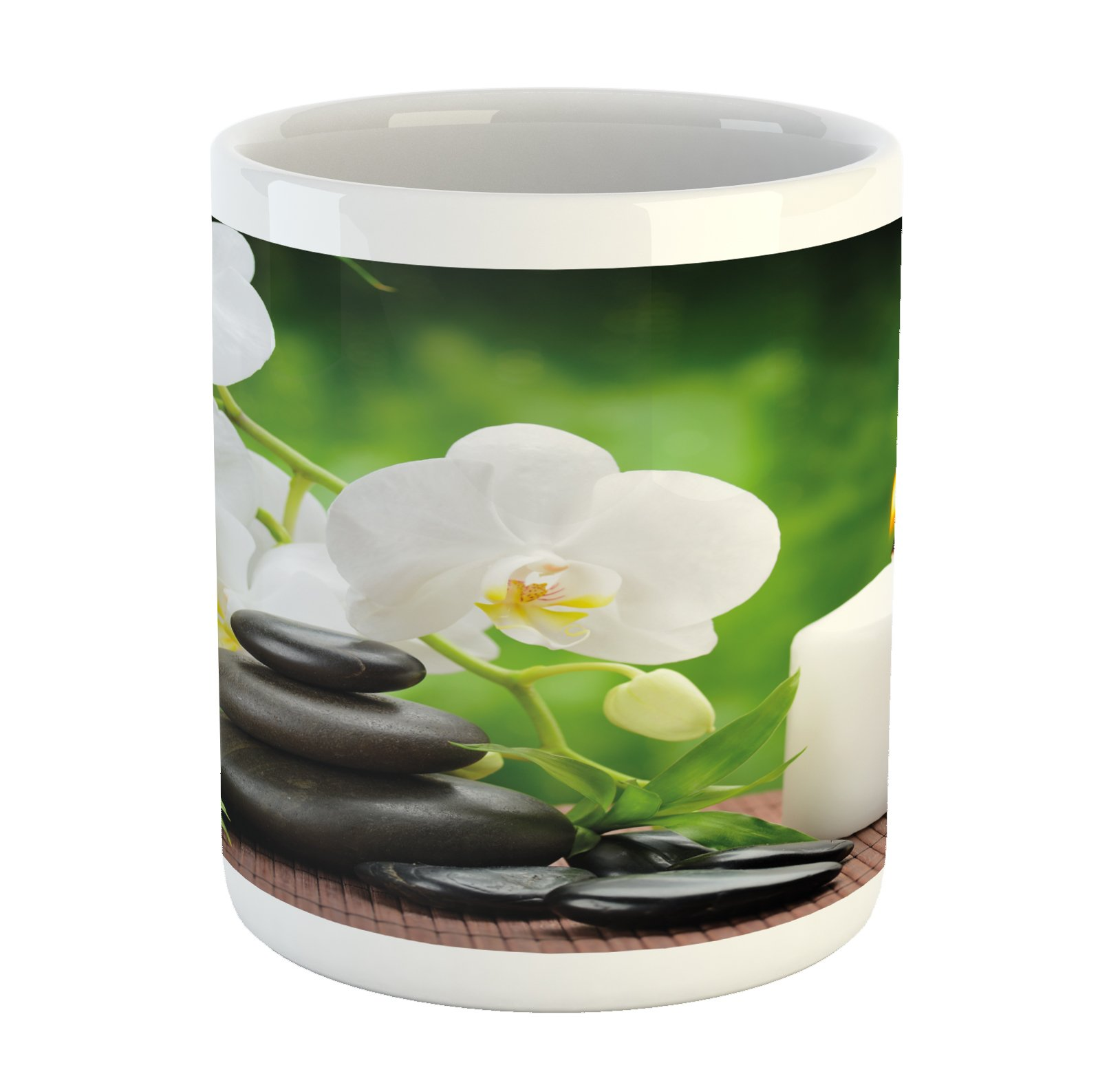 Ambesonne Spa Mug, Healing Zen Stones with Orchid and Burning Candles in a Romantic Harmony, Printed Ceramic Coffee Mug Water Tea Drinks Cup, Black White and Green