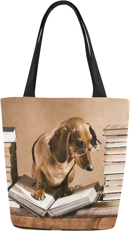 InterestPrint Dachshund Funny Dog Reading Canvas Tote Bag Shoulder Handbag for Women Girls
