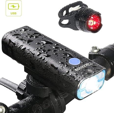 Cycloving Luz LED Recargable para Bicicleta Commuter Luz Trasera para Faro Delantero y Trasero, Resistente al Agua, fácil de Instalar y se Adapta a Todas Las Bicicletas: Amazon.es: Deportes y aire libre