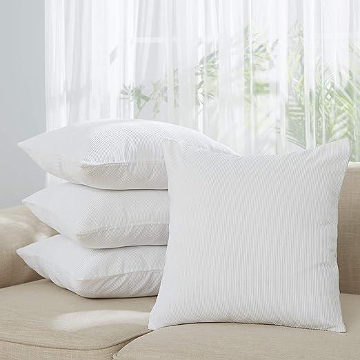 Deconovo Fundas de Cojín Decorativo para Sofá Cama Jardín Pana Almohada Cuadrada 4 Piezas 45 x 45 cm Blanco