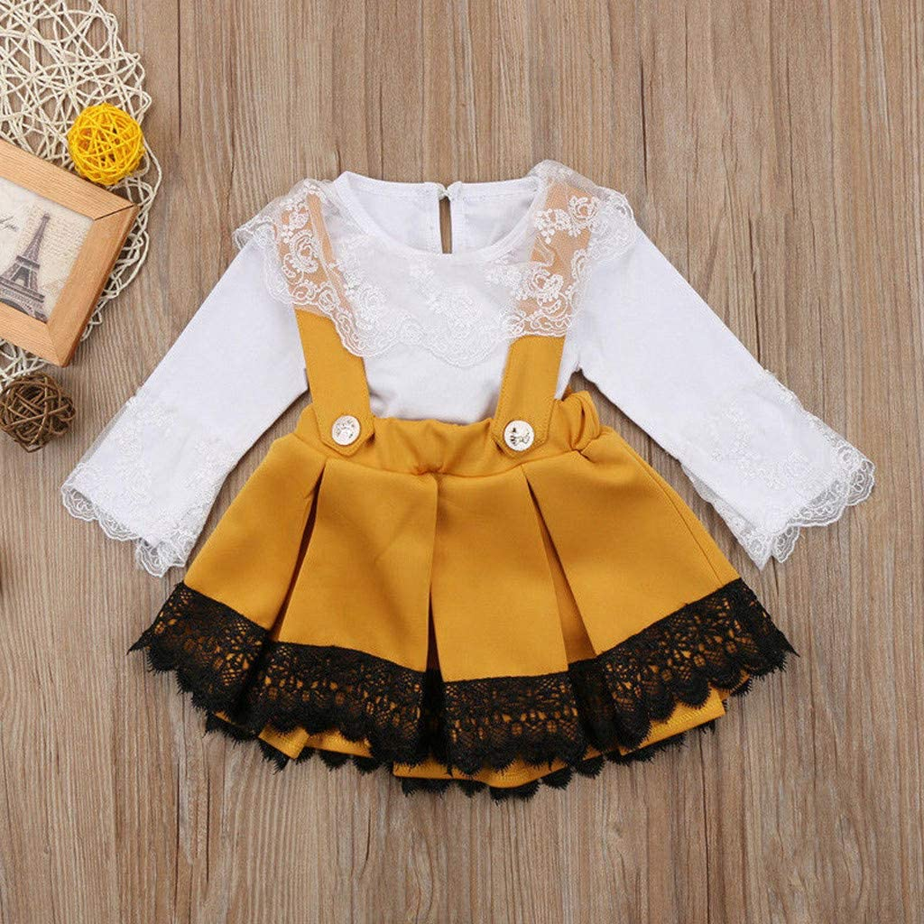 Lace Floral Stitching Long Sleeve Romper Tops BURFLY Baby Girls Princess Dress Outfit Set with Bowknot Suspender Skirts Overalls Pleated Skirts
