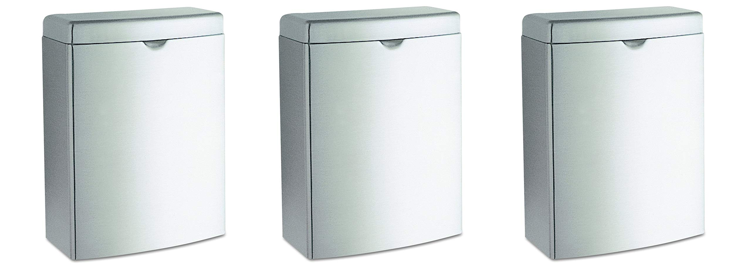 Bobrick 270 Contura Sanitary Napkin Receptacle, Rectangular, Stainless Steel, 1gal (Pack of 3)