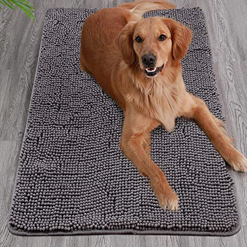 YOH Durable Chenille Doormat – 36 x 24 Absorbent Indoor Mat – Machine Washable Rubber Backing Non Slip Bath Mat – Low-Profile Rug Doormats for Entrance, Mud Room, Back Door, High Traffic Areas, Grey