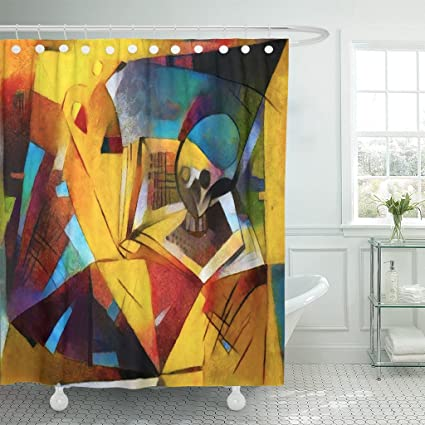 TOMPOP Shower Curtain Alternative Reproductions Of Famous Paintings By Picasso Applied Abstract Waterproof Polyester Fabric 72