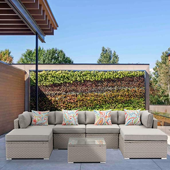 SUNBURY 7-Piece Outdoor Sectional Wicker Sofa