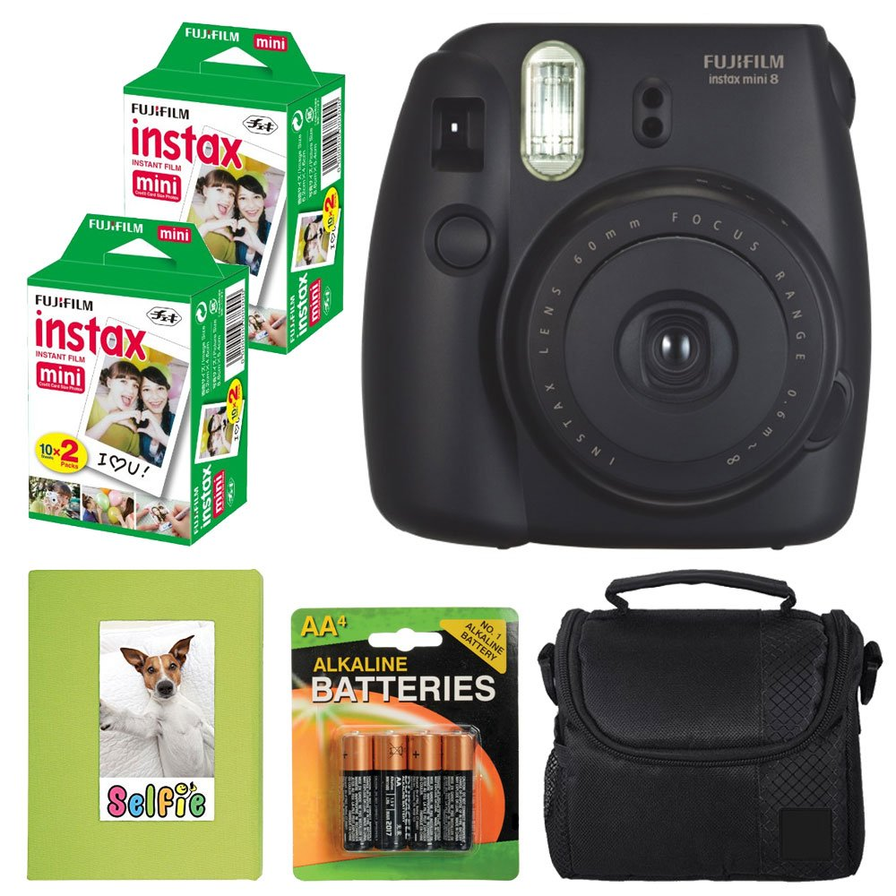 Fujifilm Instax mini 8 Instant Film Camera (Black) + Selfie Photo Album + Instax Mini Twin Pack (40 shots) + Camera Case + AA 4 Batteries + Valued Bundle - International Version (No Warranty)