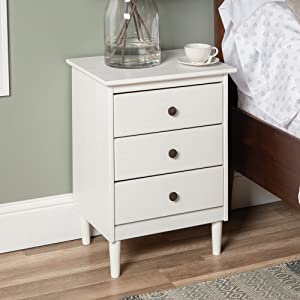 Walker Edison Traditional Wood 1 Nightstand Side Bedroom Storage Drawer and Shelf Bedside End Table, 3, White