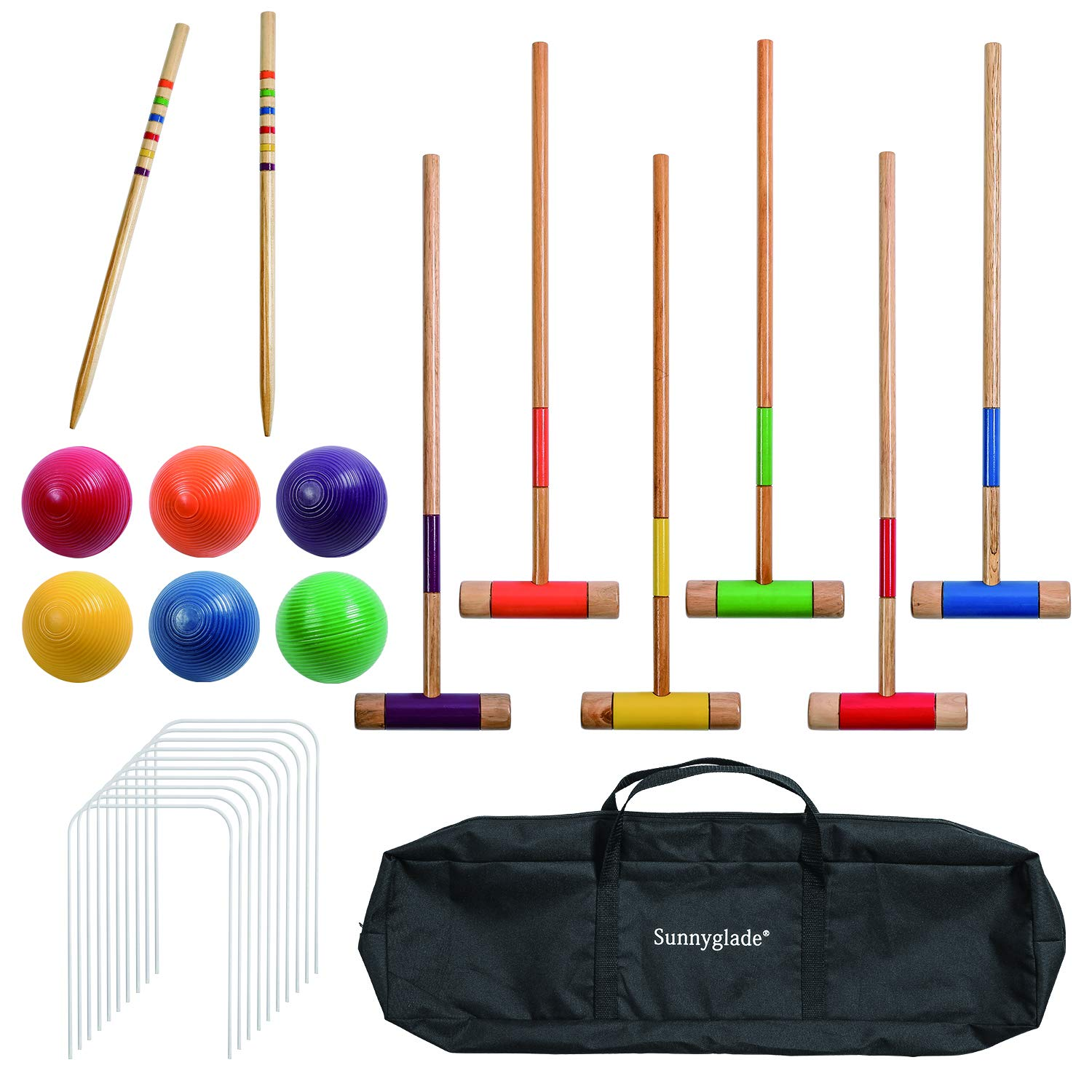 Sunnyglade 28inch Six Player Croquet Set with Classic Wooden Mallets, Colored Balls, Wickets, Stakes, Sturdy Carrying Bag by Sunnyglade