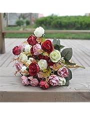 Flores artificiales de tacto real, flores artificiales, ramo de rosas, decoración de boda, decoración de Acción de Gracias, regalos de día festivo, Rojo