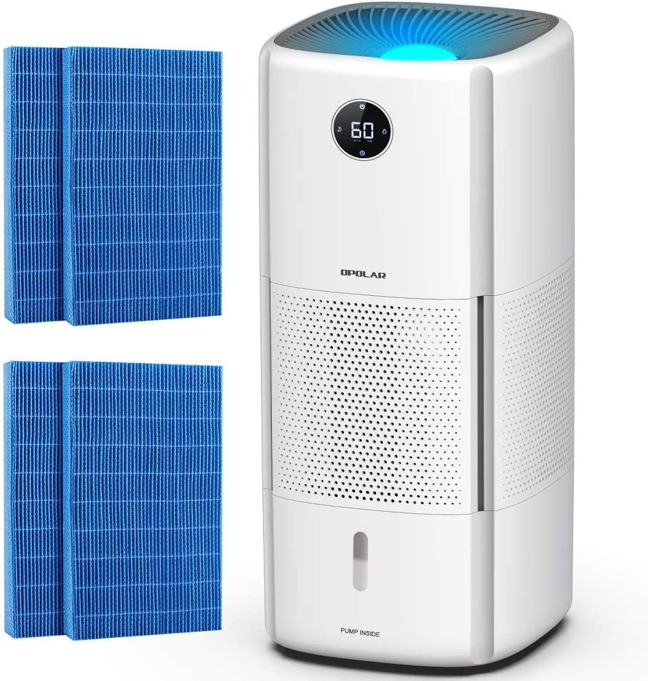 Whole-house Evaporative Humidifier with Wick Filters, 6Gal/Day Evaporation for 1000sq/ft, 2.6Gal Tank Lasts 10-20Hrs, Easy Top Fill, Mist-free, Timer, Sleep Mode, Another 4 Filters for Backup