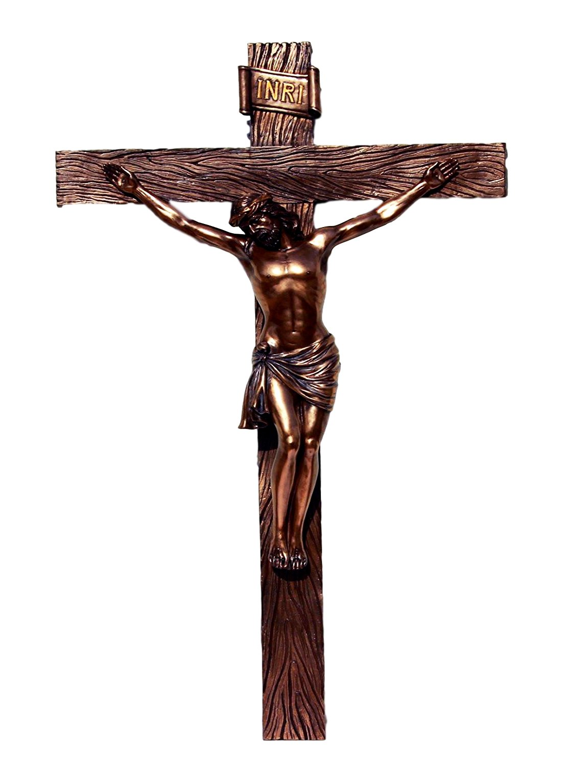 Atlantic Collectibles Large 30'' Tall Crucifix Wall Cross Plaque Detailed Passion of The Christ Wall Cross Decor In Faux Bronze Catholic Christian Sculpture