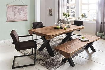 Mesa de Comedor 180 x 90 x 77 cm Acacia rústico de Estilo Completo de Madera