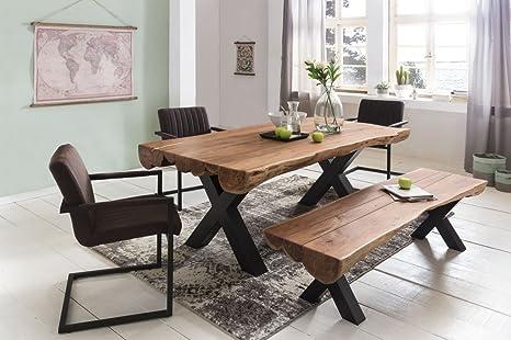 Tavolo per sala da pranzo 180 x 90 x 77 cm Acacia paese casa di moda ...