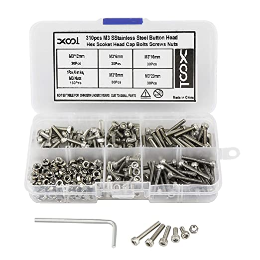 300x M3 Hex Socket Head Screws With Hex Nut Washers Assortment Stainless Hot