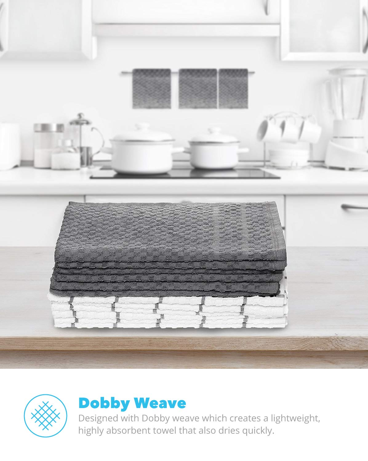 12-Pack 12 Pack Dobby Weave -Great for Cooking in Kitchen and Household Cleaning 100% Soft Cotton -15 x 25 Zeppoli Kitchen Towels