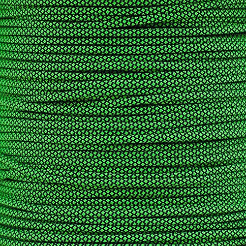 Paracord Planet 550 Cord Type III 7 Strand Paracord 100 Foot Hank - Neon Green Diamonds