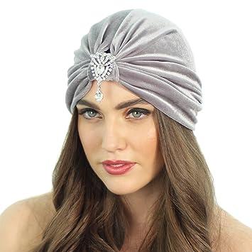 2fcda26c280 Amazon.com   Grey Velvet Crystal Flapper Inspired Turban Headband Headpiece  Hat   Beauty