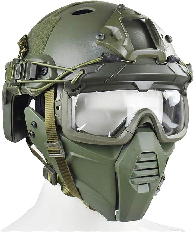 XUE Airsoft Tactique Rapide PJ Casque Multicam Amovibles avec Masque et Lunettes pour CS Jeu Wargame