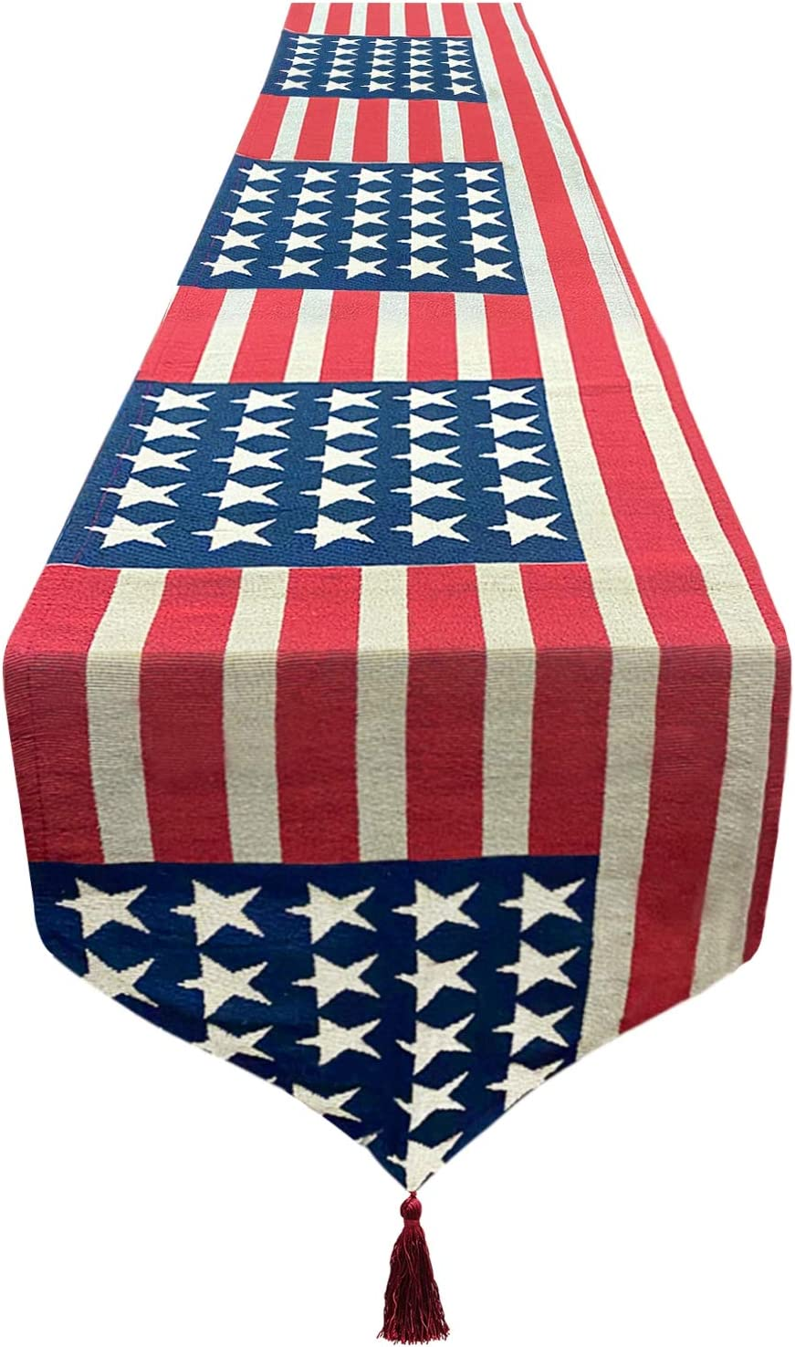AMENON American Flag Table Runner 13x70 Inch Embroidered Americans Flag Stars Runner for August Wedding, Election Event Decoration Burlap Table RunnerTable Cover Patriotic Decor