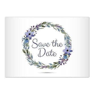 15 X Save The Date Karten Mit Umschlag Blumenkranz Schick