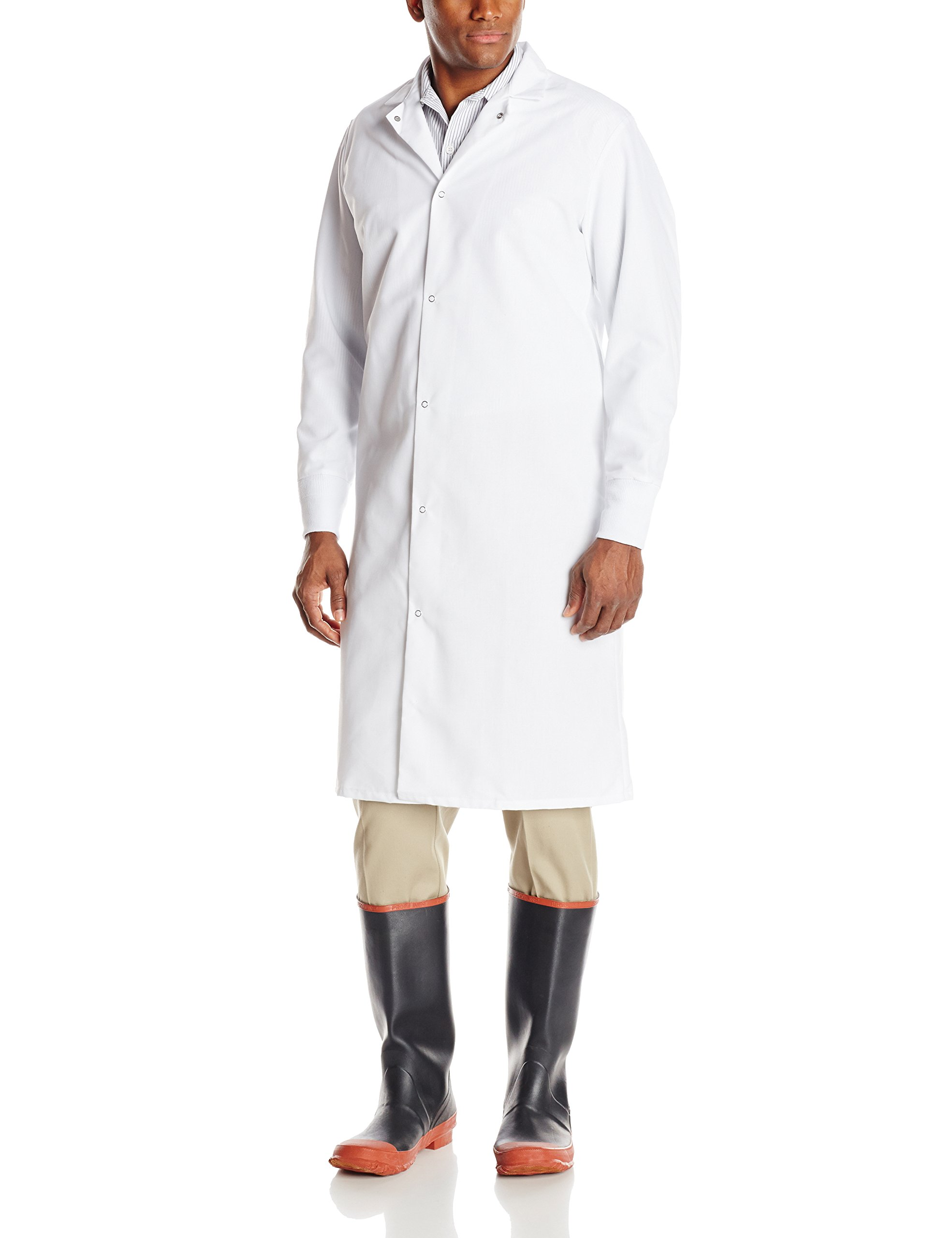 Red Kap Men's Gripper Front Spun Polyester Pocketless Butcher Coat With Knit Cuffs, White, 2X-Large