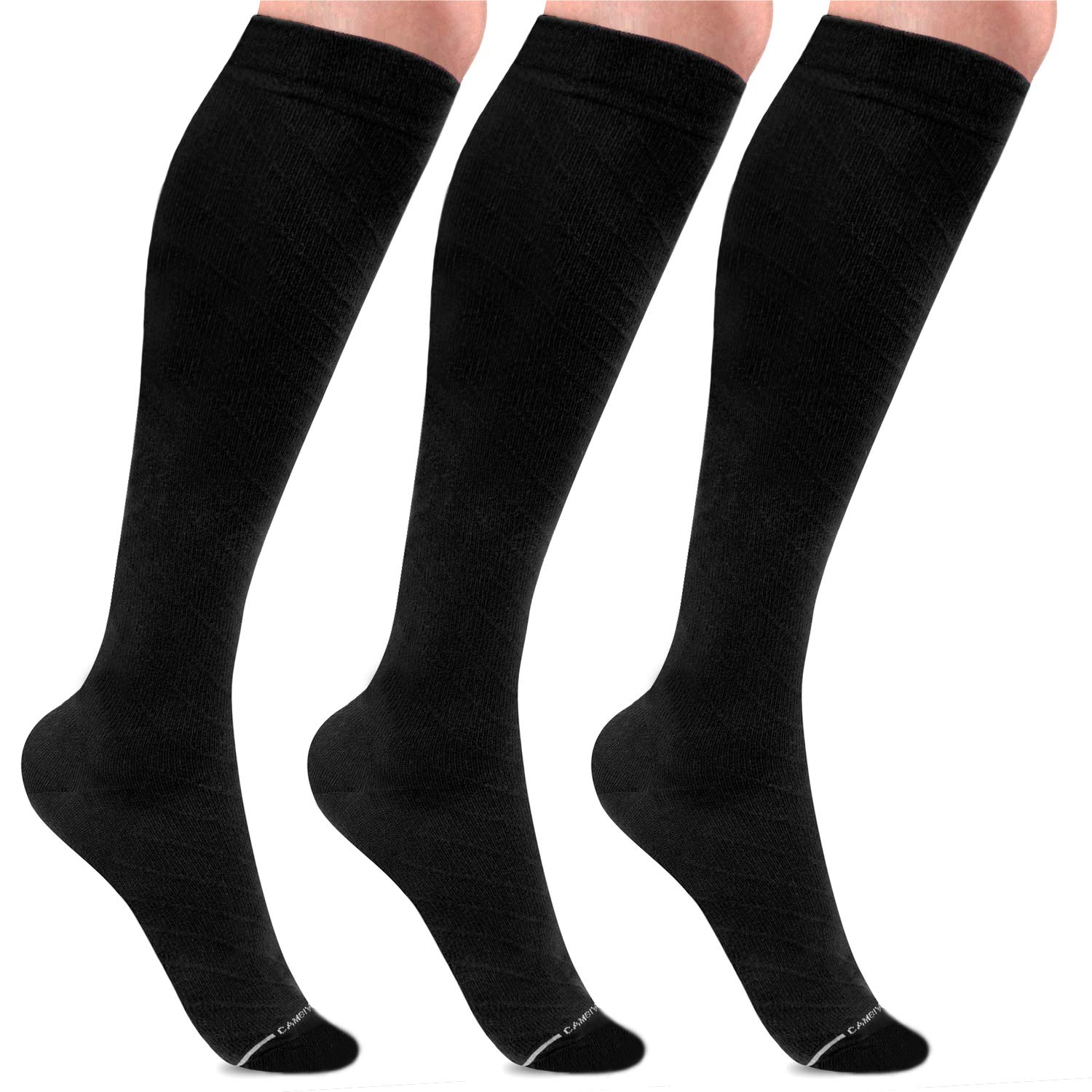 Cambivo Compression Socks for Women & Men, Cotton Dress Socks, Fit for Nurses, Flight, Running, Athletic Sports, Travel, Pregnancy - 3 Pairs CS50