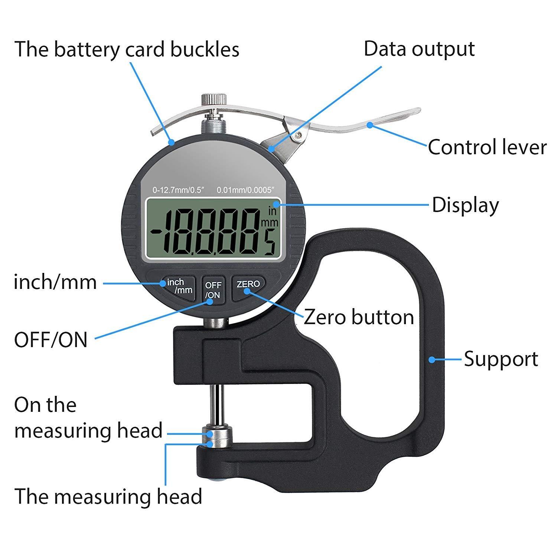 Nynel Jauge d/épaisseur portable num/érique de 0,01 /à 0,0005 cm Al/ésage 0 /à 12,7 mm Microm/ètre /électronique pr/écis avec /écran LCD Pouces et millim/ètres au choix