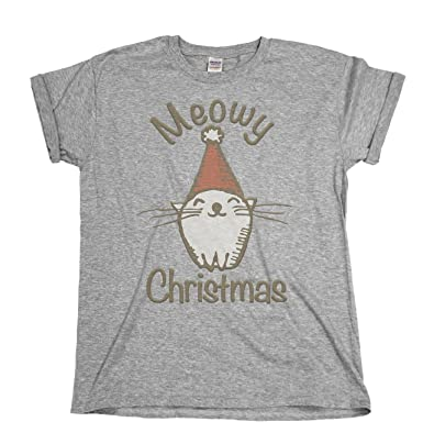 d3769e08c6 Meowy Christmas Funny Cat Ladies & Mens Unisex Fit Christmas T-Shirt: Amazon .co.uk: Clothing