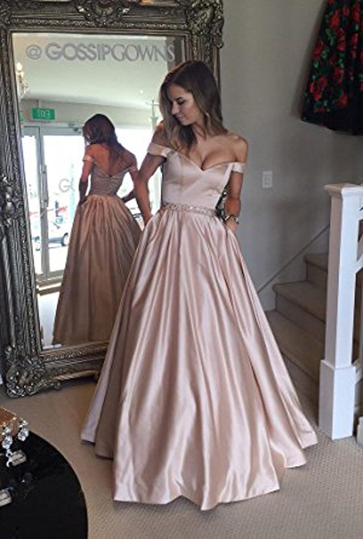 Vickyben Damen langes Ab-Schulter Satin Prinzessin Kleid Abendkleid ...