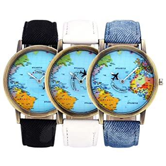 Buy top plaza womens mens rotating airplane global travel world map top plaza womens mens rotating airplane global travel world map watch pu leather band quartz watch gumiabroncs Images